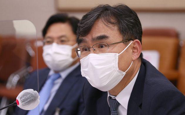 박순철 남부지검장이 19일 서울 여의도 국회에서 열린 법제사법위원회 국정감사에 출석해 질의응답을 하고