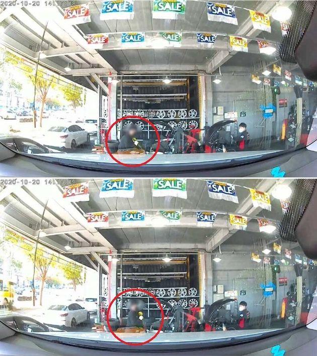 A씨가 보배드림에 올린 영상에는 타이어뱅크 대리점 점주가 스패너 등 공구를 가져와 휠을 훼손하는 모습이 그대로