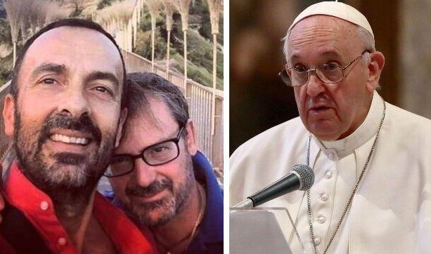 Andrea Rubera e il marito Dario De Gregorio; Papa