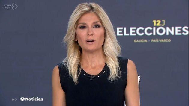 Sandra Golpe durante un informativo de 'Antena 3