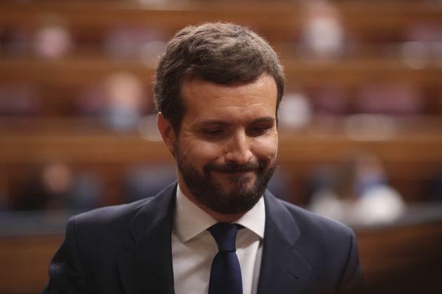 Pablo Casado, líder del PP, durante su intervención en el