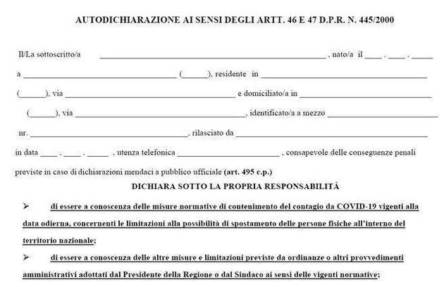 È online la nuova autocertificazione valida in tutta Italia. Ecco dove