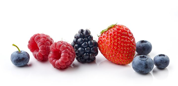 fresh berries isolated on white background