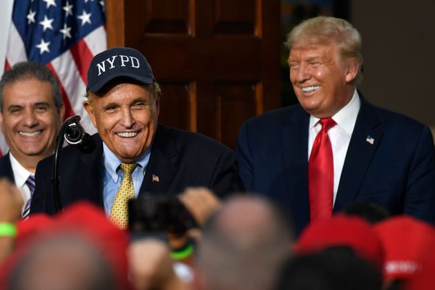 Rudy Giuliani, an attorney for Donald Trump, with the president and members of the City of New York Police...