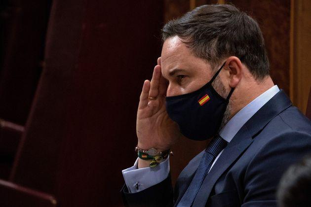 Abascal, durante el debate de la moción de censura presentada por Vox contra Pedro