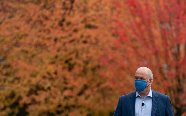 NDP Leader John Horgan arrives for a seniors roundtable in Coquitlam, B.C. on Oct. 20, 2020. The British...