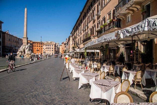 22/10/2020 Roma, il giorno prima delle nuove misure restrittive. Nella foto Piazza