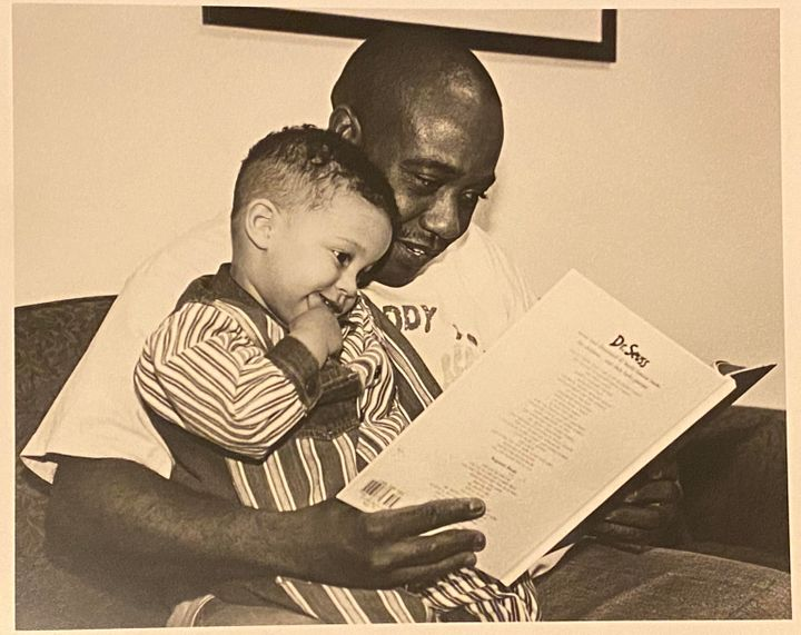 The author and his father at an early childhood family and education program in northeast Minneapolis in 1995. The photo was