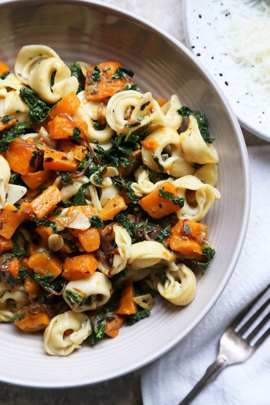 Warm Roasted Butternut Squash and Kale Tortellini Salad from Supper With Michelle