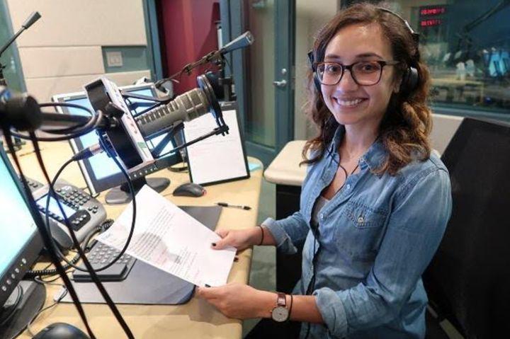 The author in the studios of North Carolina Public Radio - WUNC in 2017.
