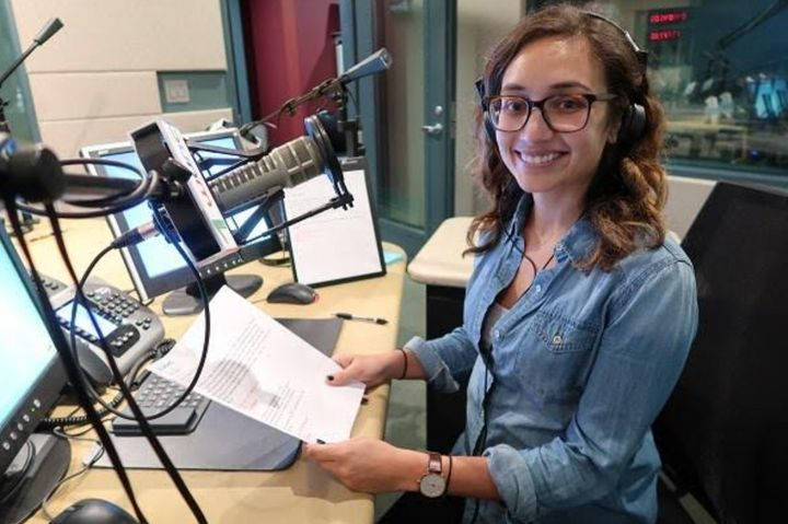 The author in the studios of North Carolina Public Radio - WUNC in 2017.