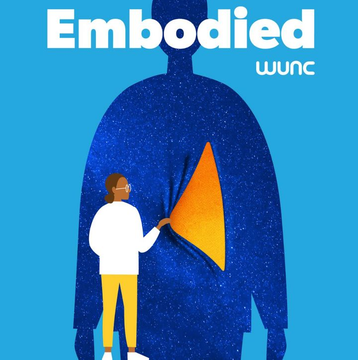 "Logo for the podcast ""Embodied"" hosted by the author and based on the live radio series she created on North Carolina Public"