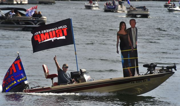 Supporters of President Donald Trump filled Harveys Lake in Luzerne County, Pennsylvania, in early October....