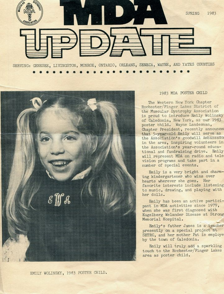 A newspaper clipping of Wolinsky as a MDA poster child.