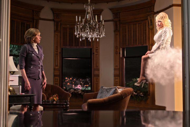 "Netflix's ""Christmas on the Square"" stars Christine Baranski (left) and Dolly Parton."