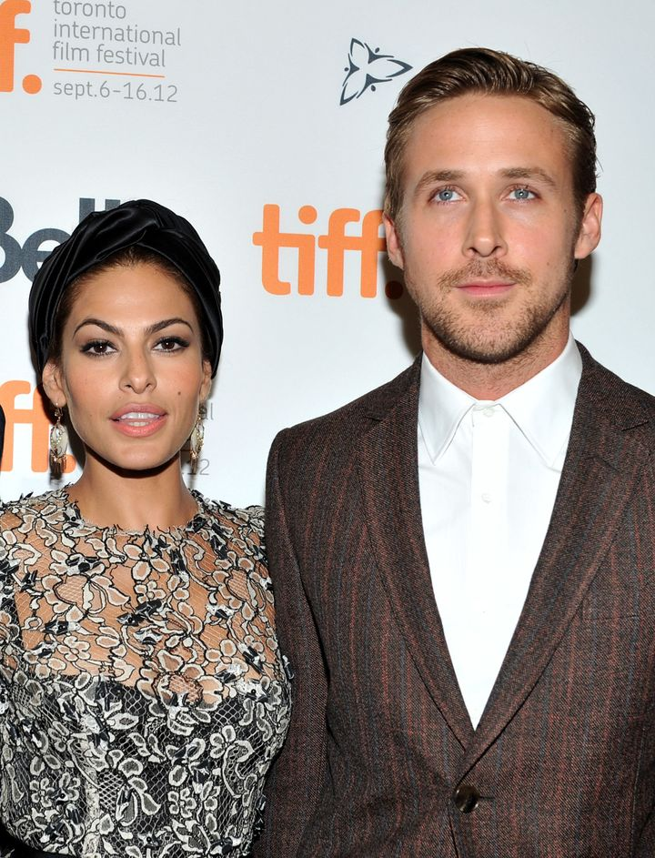 """Eva Mendes and Ryan Gosling attend """"The Place Beyond The Pines"""" premiere during the 2012 Toronto International Film Festival at Princess of Wales Theatre on September 7, 2012 in Toronto, Canada."""