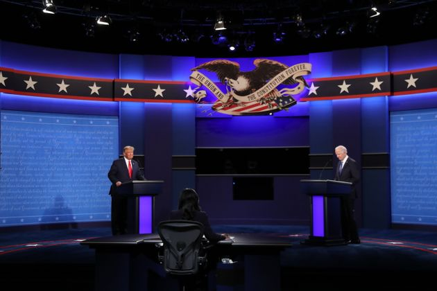 テネシー州のナッシュビルで開かれている大統領選討論会。最後の直接対決だ=2020年10月22日