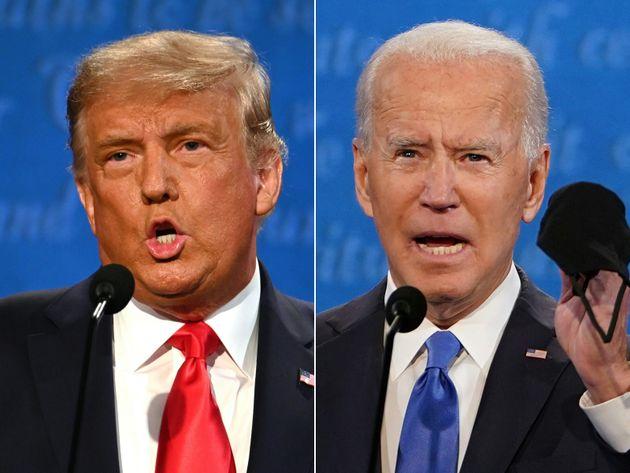 10月22日の最後の討論会で激突したトランプ、バイデン両候補