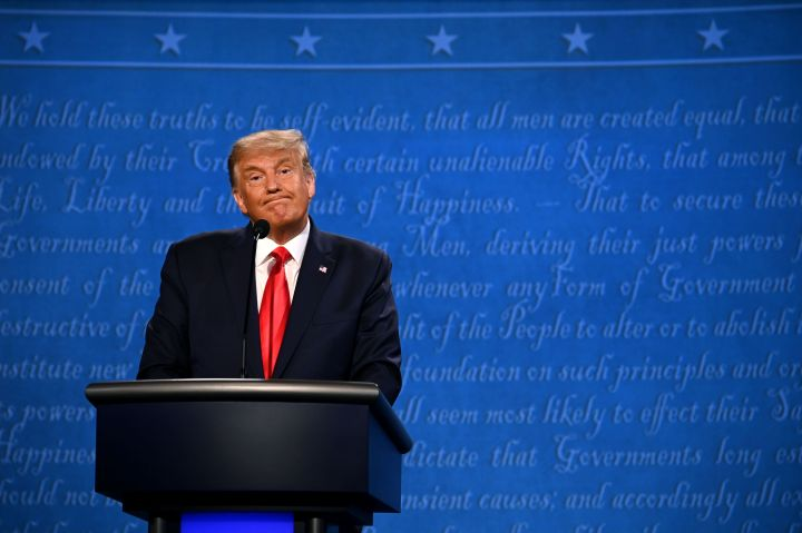 President Donald Trump reacts during the final presidential debate at Belmont University in Nashville, Tennessee, on Oct. 22.