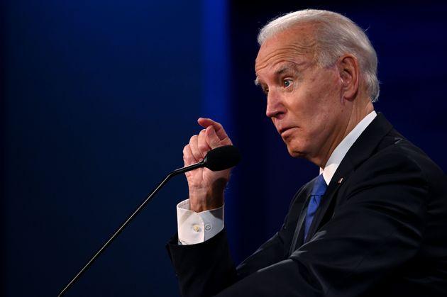Joe Biden speaks during the final presidential debate at Belmont University in Nashville, Tennessee,...