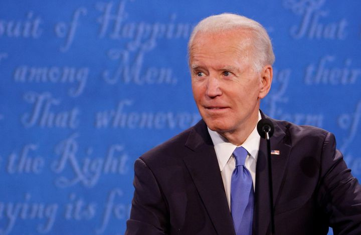 Democratic presidential nominee Joe Biden looks on during the final 2020 U.S. presidential campaign debate in the Curb Event
