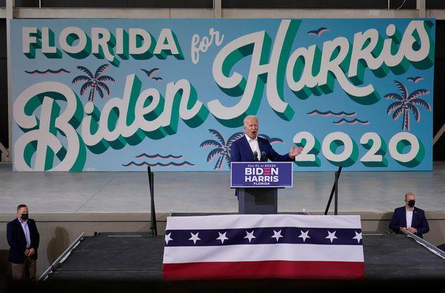 민주당 조 바이든 후보가 유세를 하고 있다. 미라마, 플로리다주. 2020년