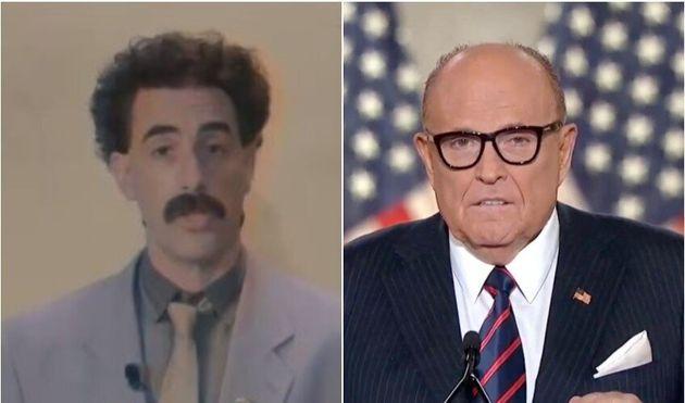 Borat a apporté son soutien en vidéo à Rudy Giuliani,l'avocat de Donald Trump, qui avait été piégé par...