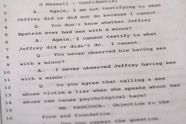 A deposition that British socialite Ghislaine Maxwell gave in 2016 relating to her dealings with the late Jeffrey Epstein is pictured in the Manhattan borough of New York City, New York, U.S., October 22, 2020. REUTERS/Carlo Allegri