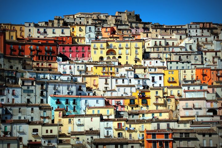 Coloured houses in old town of Calitri,Southern Italy
