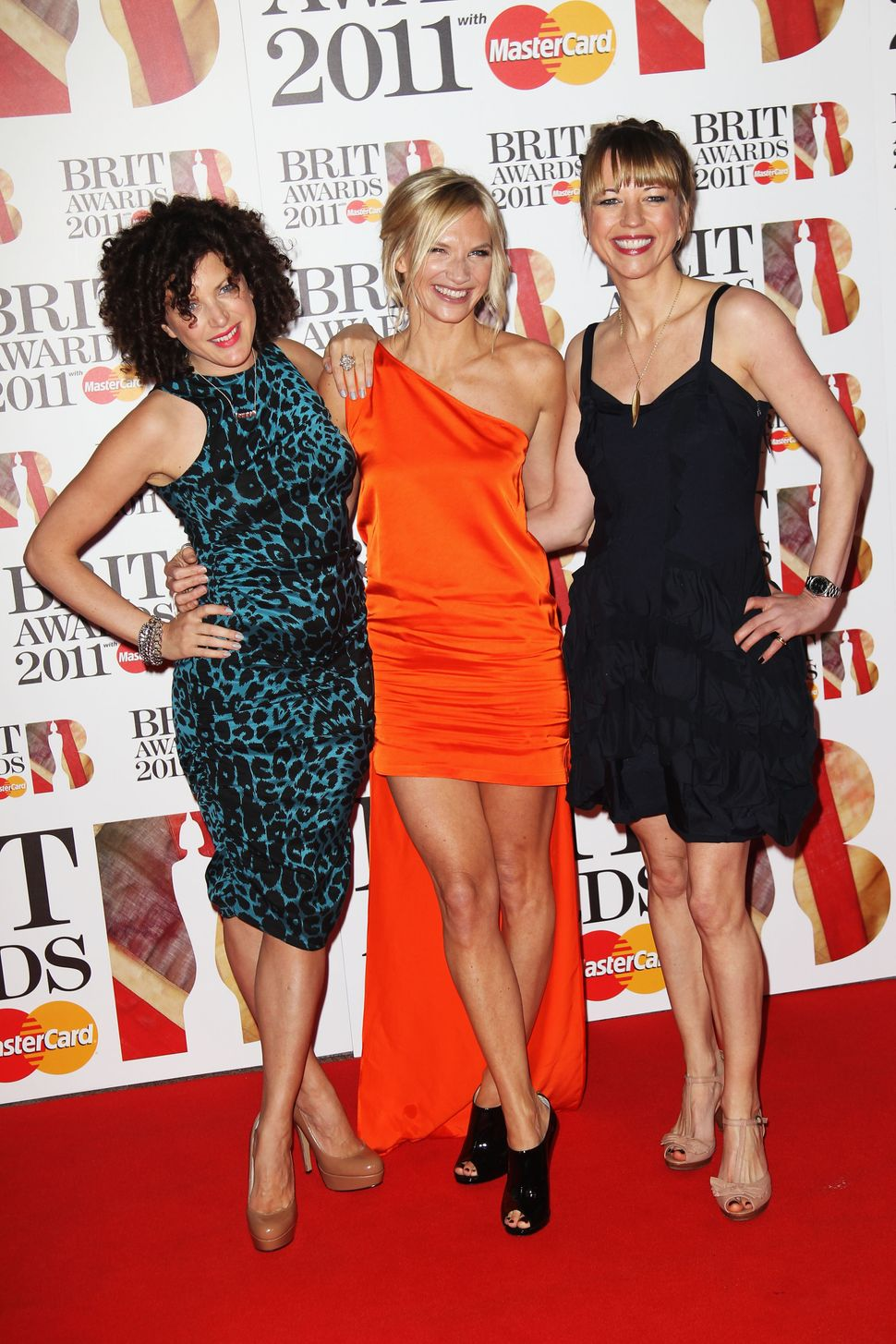 Annie Mac, Jo Whiley and Sara Cox at The Brit Awards in 2011