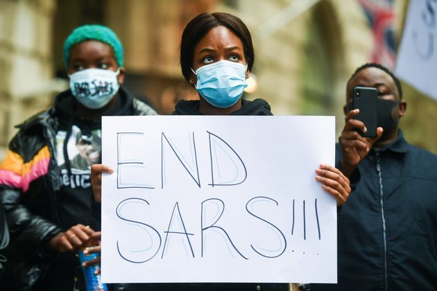 Protesters demonstrate outside the Nigeria High Commission in central London, over the Nigerian federal...