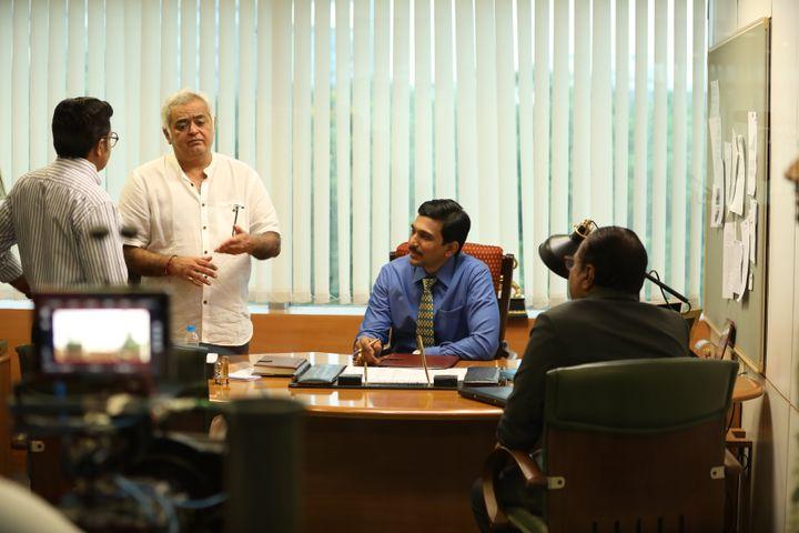 Hansal Mehta with Pratik Gandhi on the sets of Sony LIV's 'Scam 1992'