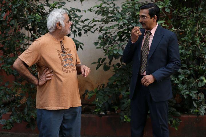 Hansal Mehta on the sets of Scam 1992 with Pratik Gandhi