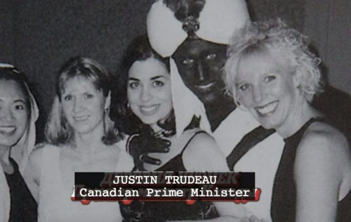 """A screenshot from the new film """"Borat 2,"""" which includes a joke about Canadian Prime Minister Justin Trudeau's brownface scandal."""