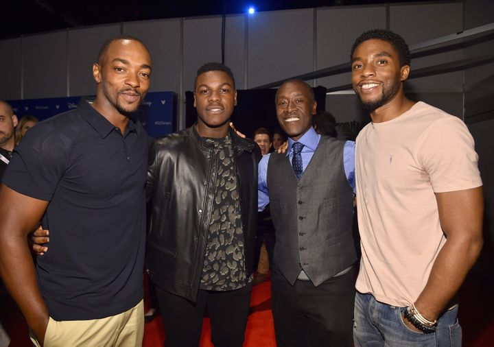 From left to right, Anthony Mackie, John Boyega, Don Cheadle and Chadwick Boseman appear at Disney's D23 EXPO 2017 in Anaheim