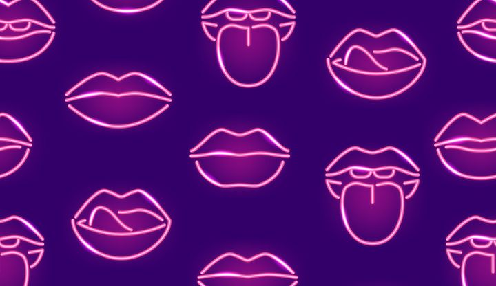 Lips Neon Signs Thin Line Seamless Pattern Background Include of Lip, Kiss and Mouth. Vector illustration of Icons
