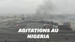 Filmées par des drones, ces images montrent des Nigérians fuyant un supermarché en