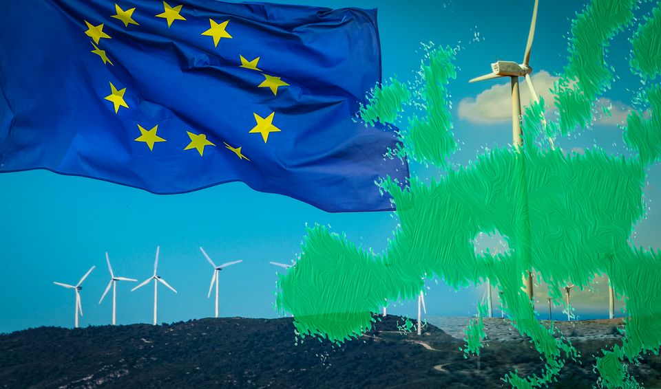 Wind turbines with EU flag and EU green map. Alternative energy sources in European Union. EU will revise...