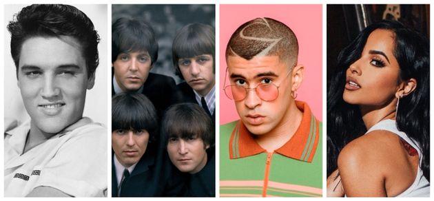 Elvis Presley, The Beatles, Bad Bunny y Becky