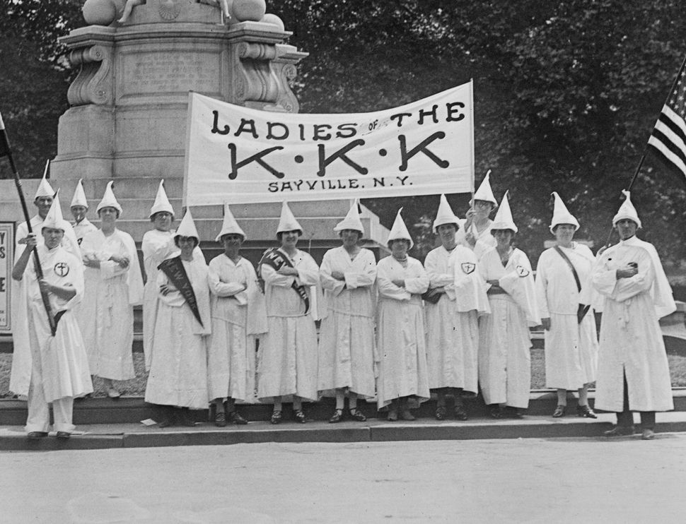 The women's auxiliary of the Ku Klux Klan of Sayville (New York) at the Peace Monument in Washington, D.C., where they partic