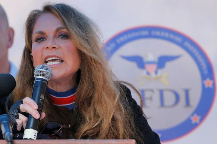 Pamela Geller speaks during a far-right rally in New York City in 2017.