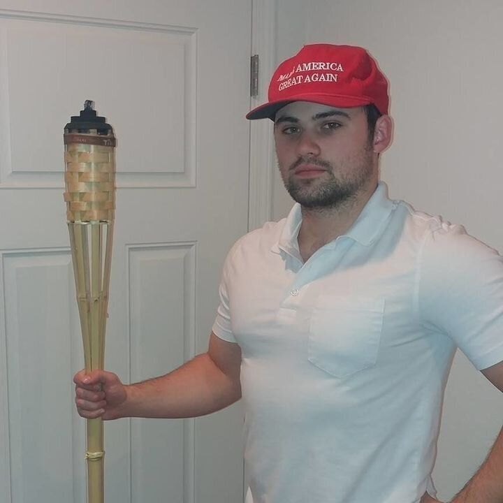 "James Allsup uploaded a photo to Facebook in which he holds a tiki torch like the ones used during the ""Unite the Right"" rall"