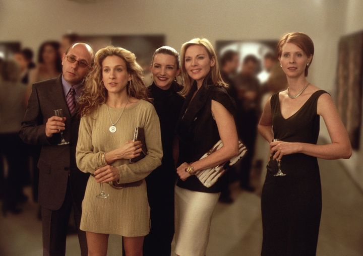 "Willie Garson (left) with Sarah Jessica Parker, Kristin Davis, Kim Cattrall and Cynthia Nixon in a Season 3 episode of ""Sex a"