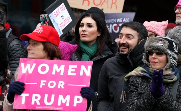 Laura Loomer (center) stands across from the Women's March in New York City on Jan. 19,