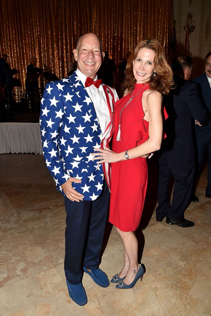 Steven Alembik and Dawn Silver attend President Trump's one-year anniversary celebration with over 800 guests at Trump's Mar-a-Lago estate in Palm Beach, Florida, onJan. 18, 2018.