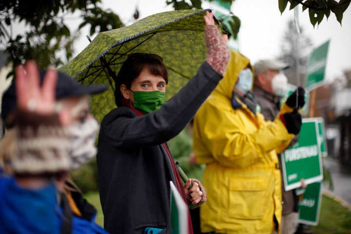 B.C. Green Party Leader Sonia Furstenau campaigns with supporters in Duncan, B.C., on Oct. 23, 2020.