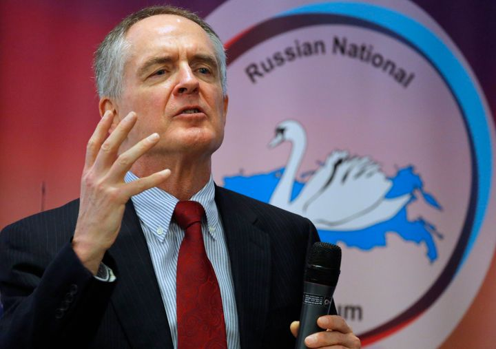 "U.S. writer and white supremacist Jared Taylor, author of the book ""White Identity"" speaks during the International Russian C"