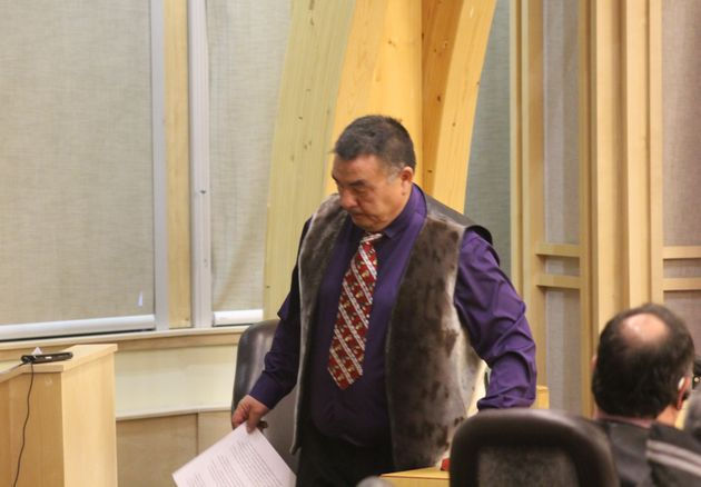 Patterk Netser finishes his speech during a vote held in the legislative assembly in Iqaluit on