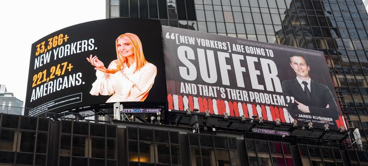 A new billboard in Times Square by The Lincoln Project depicts Ivanka Trump presenting the number of New Yorkers and American