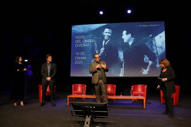 ROME, ITALY - OCTOBER 20: Producer Alessandro Passadore, Rocio Munoz Morales, Raoul Bova, Gabriele Muccino...